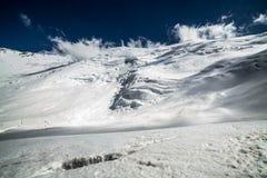 Ijs, sneeuw, hemel en bergen in Pamir Stock Afbeelding