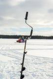 Ijs Visserij en Snowmobiling Royalty-vrije Stock Foto