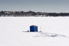 Ijs visserijhut, meer Calhoun, Minneapolis, Minnesota, de V.S. royalty-vrije stock afbeelding