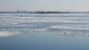 Ijsafwijking op de Volga rivier in Maart De stad van Saratov, Rusland De brug van de weg Zonnige dag Blauwe hemel Vogelskraaien o stock video