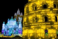 Ijsbeeldhouwwerk van Coliseum bij de het Ijs en de Sneeuwwereld van Harbin in Harbin China Stock Fotografie