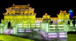 Ijsbeeldhouwwerken bij de het Ijs en de Sneeuwwereld van Harbin in Harbin China Royalty-vrije Stock Foto