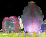 Ijsbeeldhouwwerken bij de het Ijs en de Sneeuwwereld van Harbin in Harbin China Royalty-vrije Stock Foto's