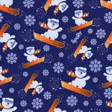 Ijsbeerwelp op een snowboard De sport van de winter leeftijd met leuke teddyberen door snowboarders DE stock illustratie