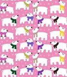 Ijsberen op roze achtergrond Stock Afbeelding