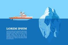Ijsberg en schip royalty-vrije illustratie