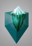 Ijsbergachtergrond Isometrische 3d illustratie Onderwater of hierboven - waterspiegel Vector illustratie Stock Foto