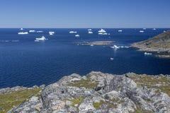Ijsbergen bij Fogo-Eiland Stock Foto
