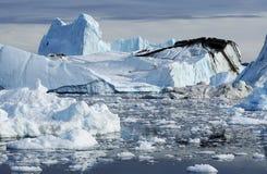 Ijsbergen in Groenland stock afbeelding