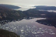 Ijsbergen van Groenland van de lucht Stock Afbeeldingen