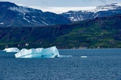 Ijsbergen voor Kust met Gletsjer in greenlandic zomer, Groenland royalty-vrije stock afbeelding