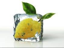 Ijsblokje en citroen op witte achtergrond wordt geïsoleerd die Stock Foto's