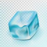 Ijsblokje Geïsoleerde Transpatrent-Vector Koele Glasdrank Bevroren Vloeistof Realistische illustratie stock illustratie