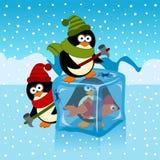 Ijsblokje met pinguïn Stock Afbeelding