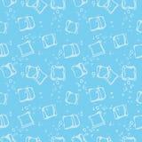 Ijsblokjeoverspraakstoringen en naadloze patroon van de water het blauwe textieldruk stock illustratie