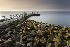 IJselmeer Pier In Long Exposure Arkivfoton
