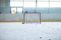 Ijshockey lege netto opleiding stock foto