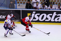 Ijshockey 2017 Wereldkampioenschap Afd. 1A in Kyiv, de Oekraïne Stock Foto's