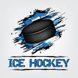 Ijshockeyachtergrond met puck en grunge effect royalty-vrije illustratie