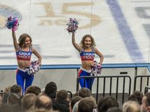 Ijshockeycheerleaders royalty-vrije stock fotografie
