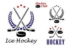 Ijshockeyemblemen en pictogrammen Stock Foto's