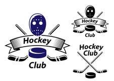 Ijshockeyemblemen en symbolen Stock Afbeeldingen
