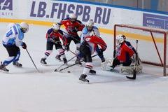 Ijshockeygelijke Bobrov versus Piter royalty-vrije stock foto's