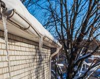 ijsijskegels op de daken van huizen Stock Foto