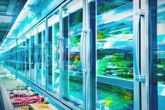 Ijskast in de supermarkt stock afbeeldingen