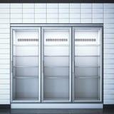 Ijskast met drie deuren in de opslag het 3d teruggeven Stock Fotografie