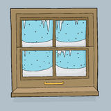 Ijskegels en Sneeuw op Venster Royalty-vrije Stock Fotografie