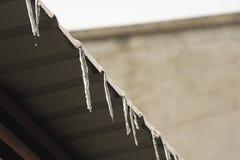 ijskegels op de dakbovenkant Stock Afbeeldingen