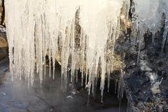 Ijskegels op een steen op de bank van de rivier Royalty-vrije Stock Foto's
