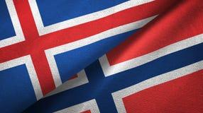 IJsland en Noorwegen twee vlaggen textieldoek, stoffentextuur royalty-vrije illustratie