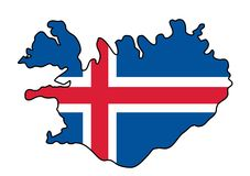 ijsland Kaart van de vectorillustratie van IJsland Royalty-vrije Stock Foto