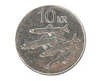 Ijslands 10 kroonmuntstuk Stock Foto's