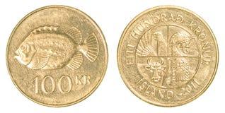 100 Ijslands kroonmuntstuk Stock Fotografie