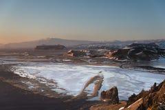 Ijslands landschap in de winter Stock Foto's
