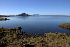 Ijslands landschap met Thingvallavatn-meer in Thingvellir Stock Afbeelding