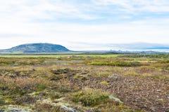 Ijslands landschap met wegroute 35 in de herfst Royalty-vrije Stock Foto's