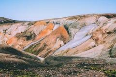 Ijslands landschap Mooie bergen en vulkanisch gebied Royalty-vrije Stock Fotografie