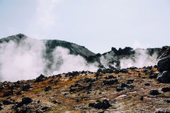 Ijslands landschap Mooie bergen en vulkanisch gebied met Stock Foto's