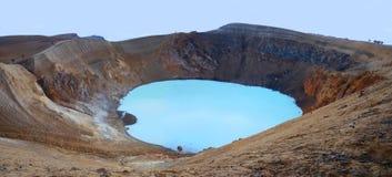 Ijslands panorama met vulkanisch meer Royalty-vrije Stock Fotografie