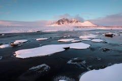 Ijslandse de winter wilde rivier die in de canion stromen Wilde Ijslandse die de winterrivier in sneeuw en ijs wordt behandeld Mo royalty-vrije stock foto's