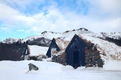 Ijslandse grashuizen in de winter royalty-vrije stock afbeelding