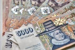 Ijslandse kroonbankbiljetten Stock Afbeeldingen