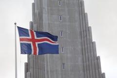Ijslandse Vlag, Reykjavik, IJsland Stock Fotografie