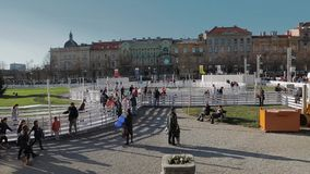 Ijspark in het centrum van Zagreb stock videobeelden