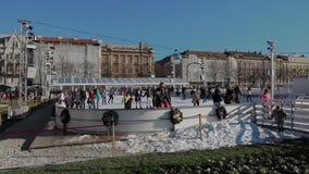 Ijspark in het centrum van Zagreb stock footage