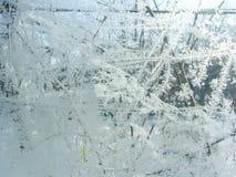 Ijspatroon en zonlicht op de winterglas Stock Afbeelding